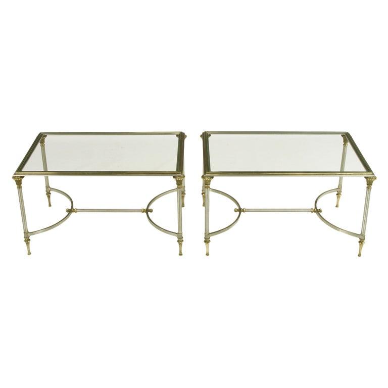 Wonderful Pair Petite Italian Brass U0026 Brushed Nickel Coffee Tables 1