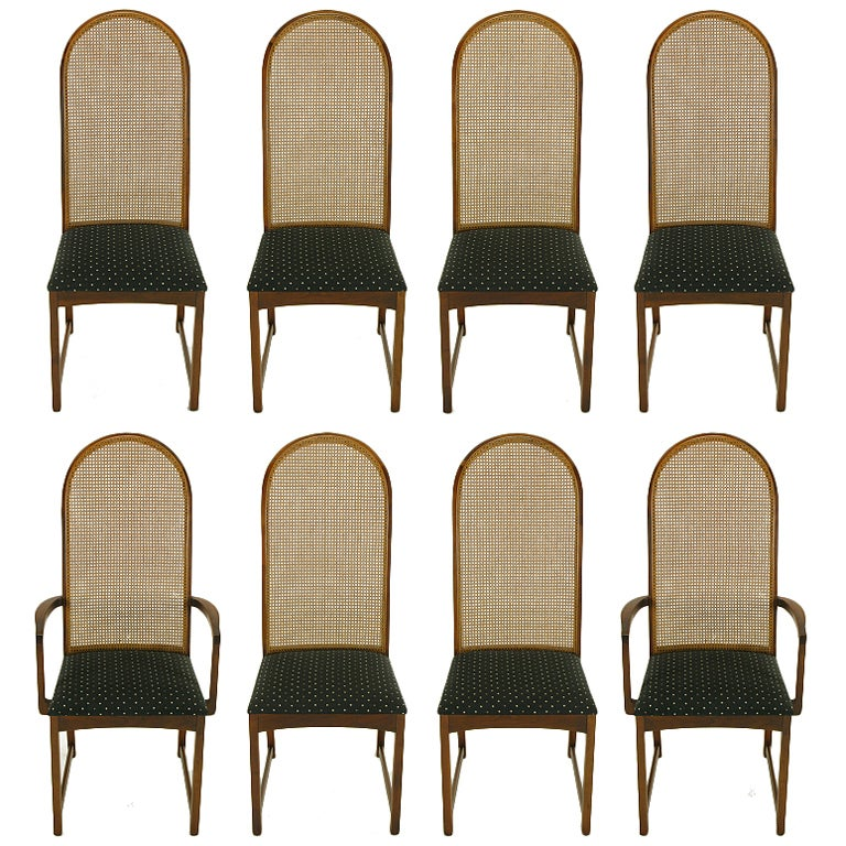 Eight Milo Baughman Walnut & Cane Arched Back Dining Chairs