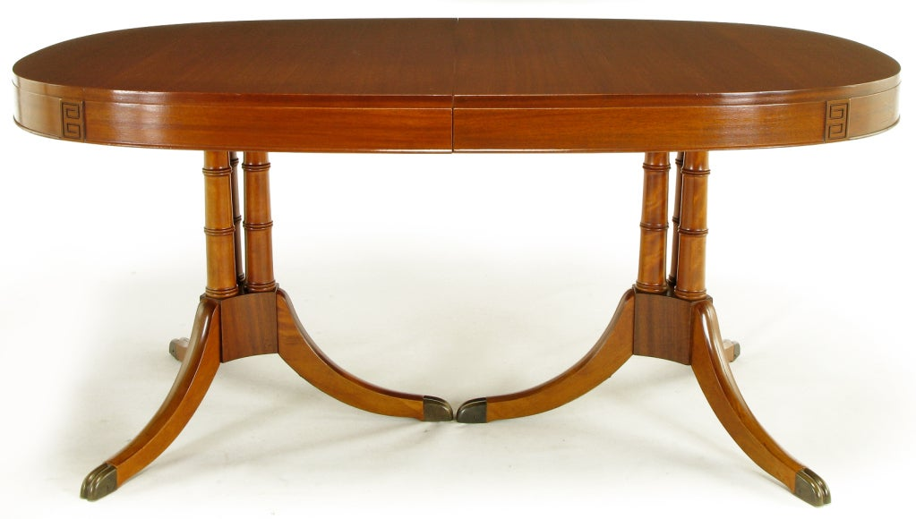Double Pedestal Sheraton Style Mahogany Dining Table For Sale At 1stdibs