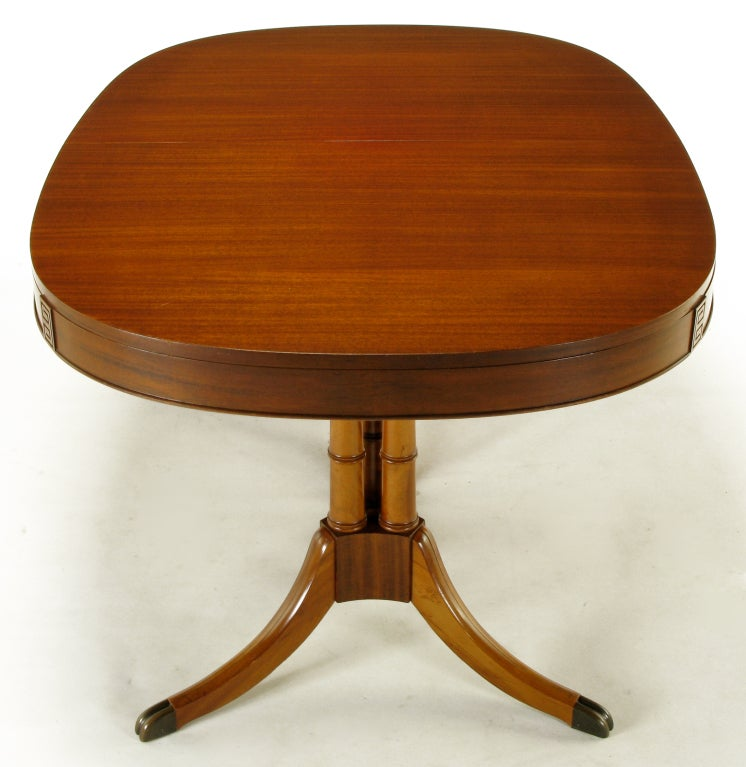double pedestal sheraton style mahogany dining table for sale at