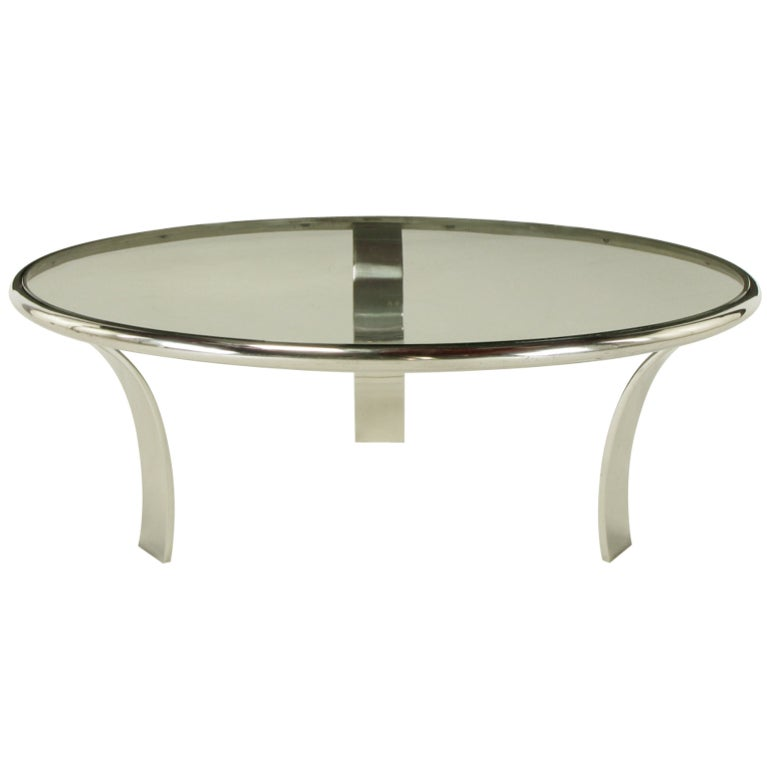Gardner Leaver For Steelcase Chrome and Glass Coffee Table at 1stdibs