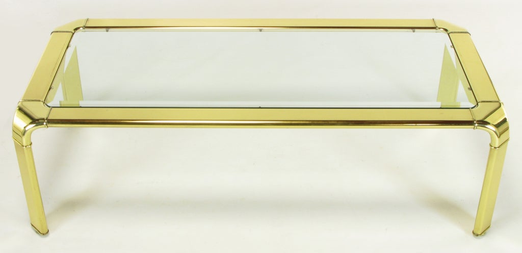 American Widdicomb Rectangular Brass and Glass Canted Leg Coffee Table For Sale