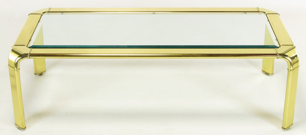 Late 20th Century Widdicomb Rectangular Brass and Glass Canted Leg Coffee Table For Sale