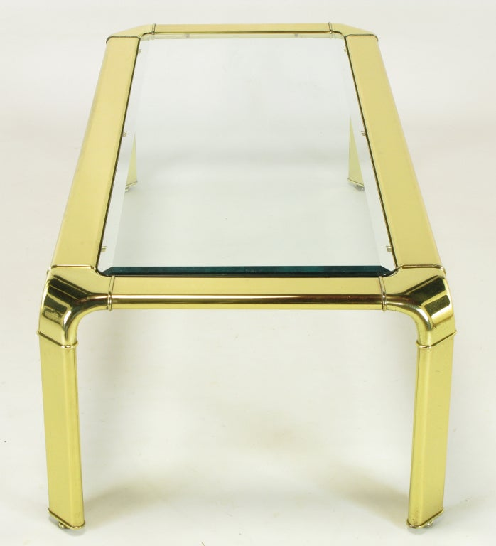 Widdicomb Rectangular Brass and Glass Canted Leg Coffee Table For Sale 2