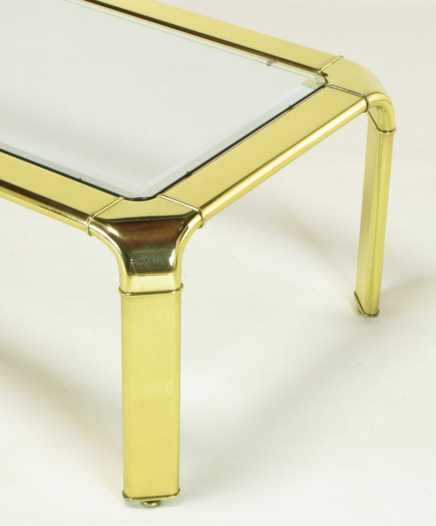 Widdicomb Rectangular Brass and Glass Canted Leg Coffee Table For Sale 4
