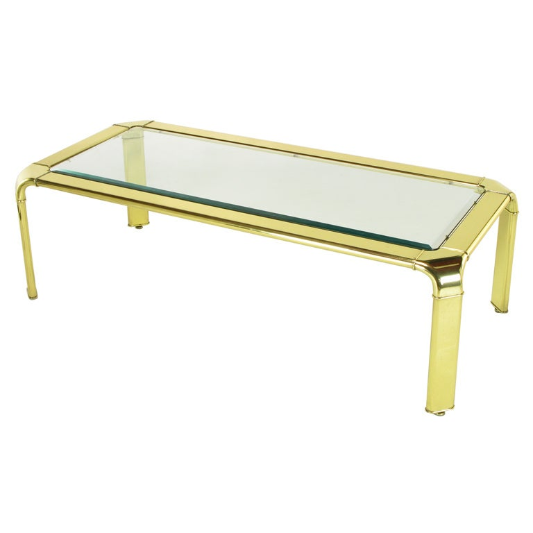 Widdicomb Rectangular Brass and Glass Canted Leg Coffee Table For Sale