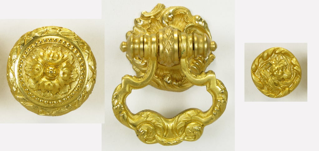 Collection Of Vintage Sherle Wagner Gold Plated Bronze Pulls 2