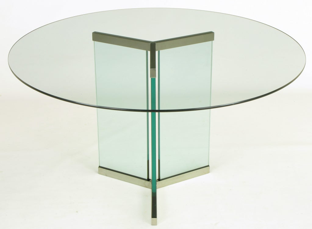 Collection Glass Brushed Stainless Pedestal Dining Table Image 3