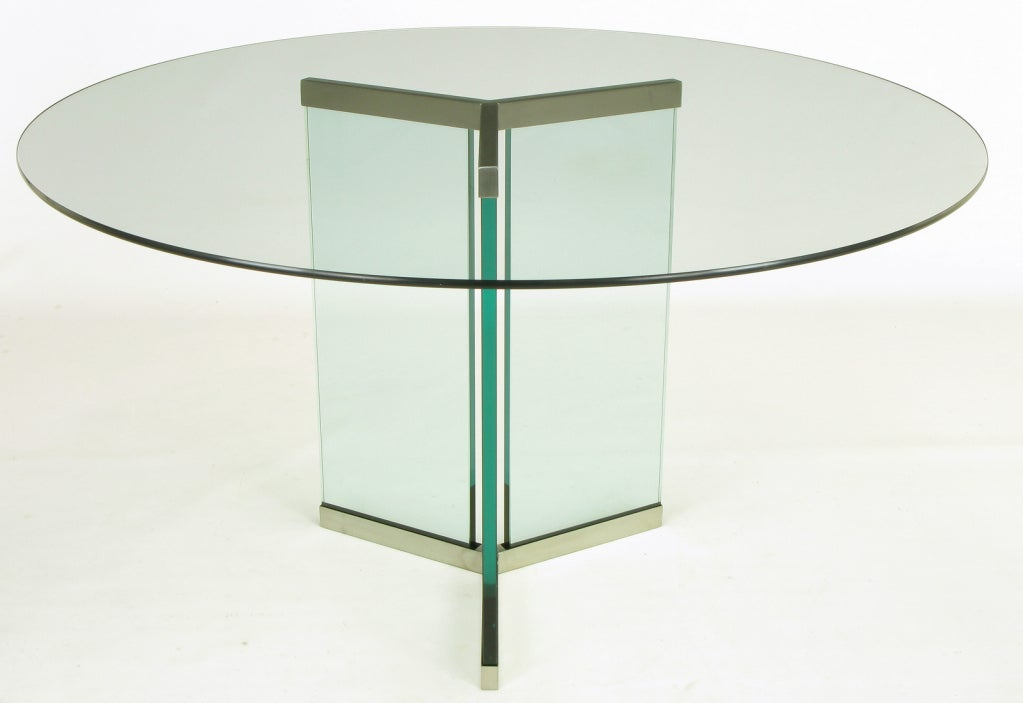 Pace Collection Glass And Brushed Stainless Pedestal
