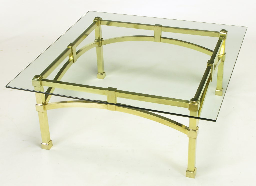 Italian Postmodern Architectural Brass And Glass Coffee Table For Sale At 1stdibs