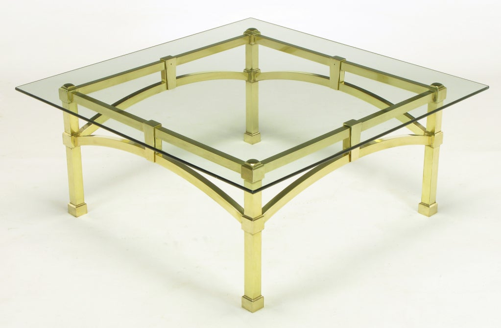 Italian Postmodern Architectural Brass And Glass Coffee Table At 1stdibs