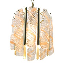 Petite Spiral Pink & Clear Murano Glass Chandelier