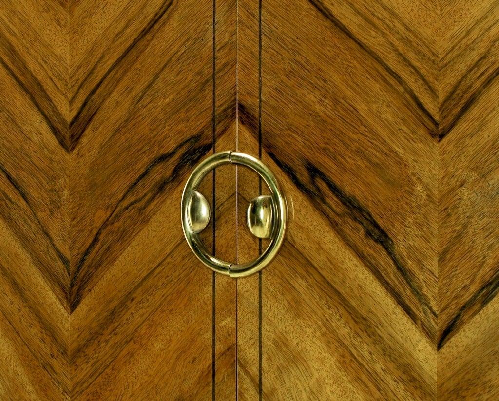 Mastercraft Zebrano Wood and Patinated Brass Tall Wardrobe at 1stdibs