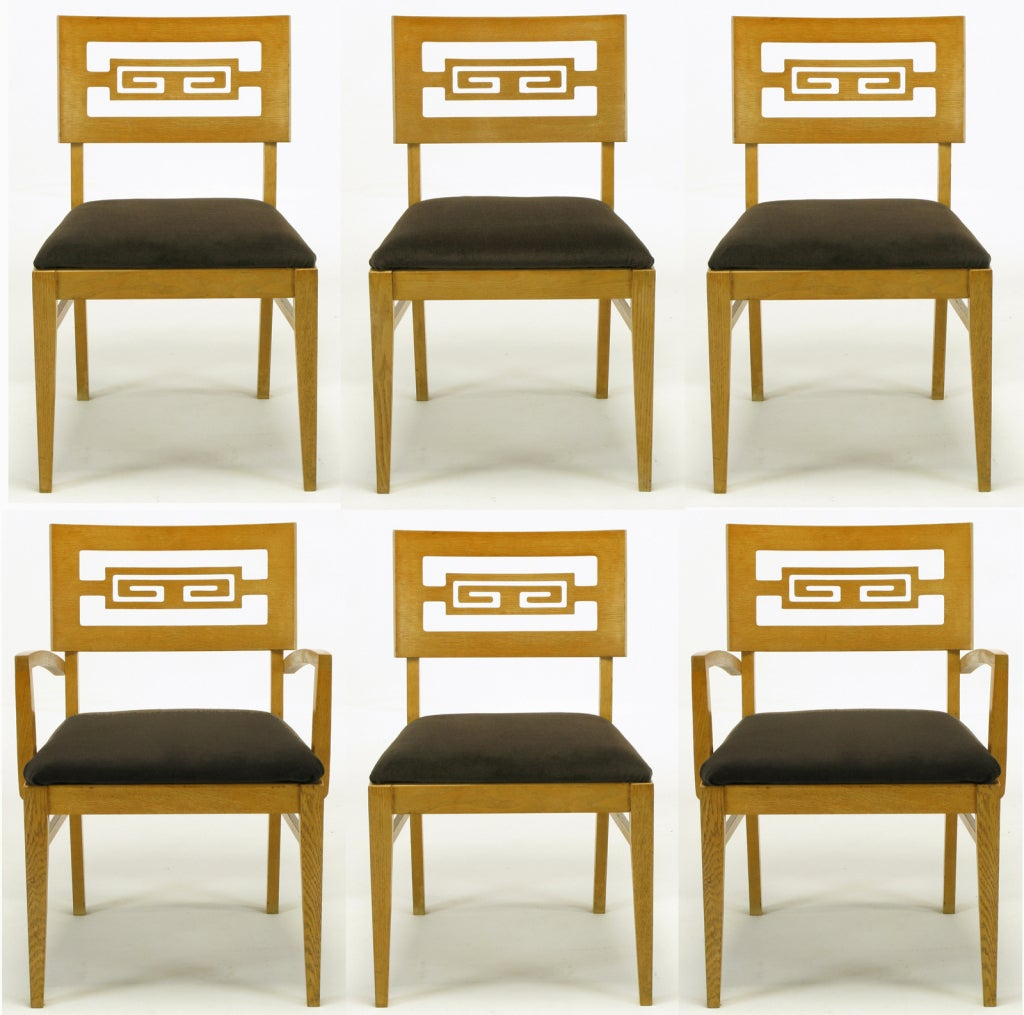 Six carved white oak greek key dining chairs at stdibs