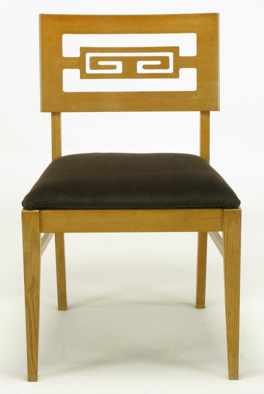 Six Carved White Oak Greek Key Dining Chairs In Good Condition For Sale In Chicago, IL