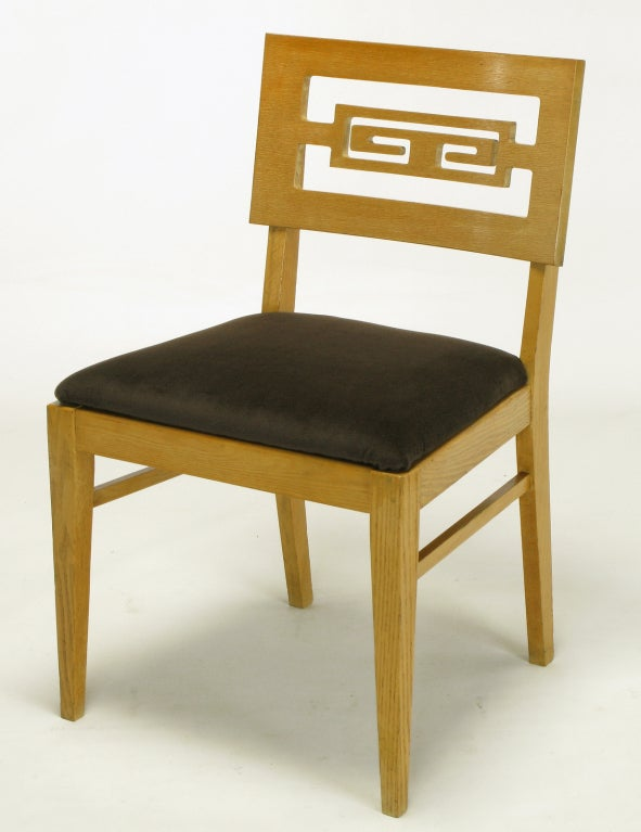 Mid-20th Century Six Carved White Oak Greek Key Dining Chairs For Sale