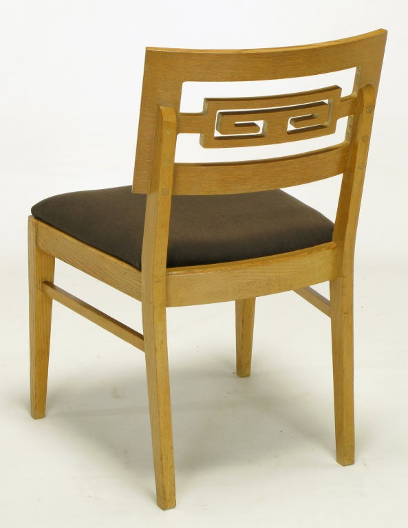 Six Carved White Oak Greek Key Dining Chairs For Sale 2
