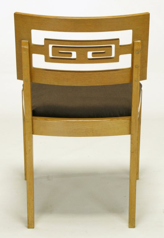 Six Carved White Oak Greek Key Dining Chairs For Sale 3
