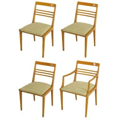 Four Renzo Rutili Walnut and Upholstered Dining Chairs