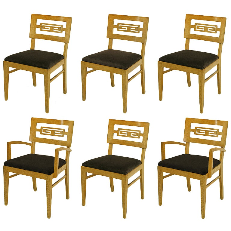 Six Carved White Oak Greek Key Dining Chairs For Sale