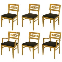 Six Carved White Oak Greek Key Dining Chairs