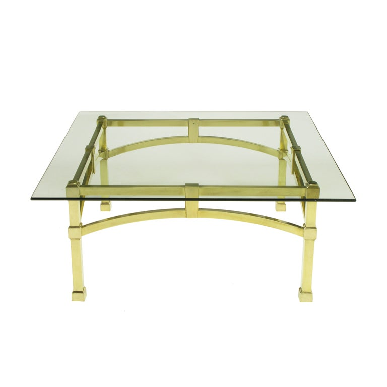 Italian Postmodern Architectural Brass & Glass Coffee Table