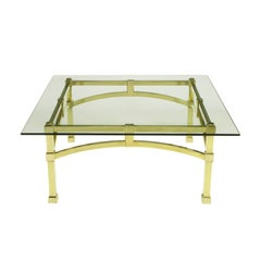 Italian Postmodern Architectural Brass and Glass Coffee Table