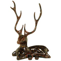 Carved Wood Hand Lacquered Recumbent Deer