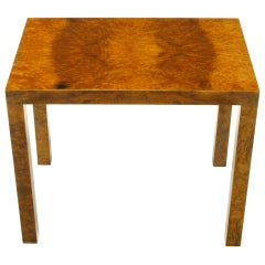 Milo Baughman Burled Olive Wood Parsons Style Side Table
