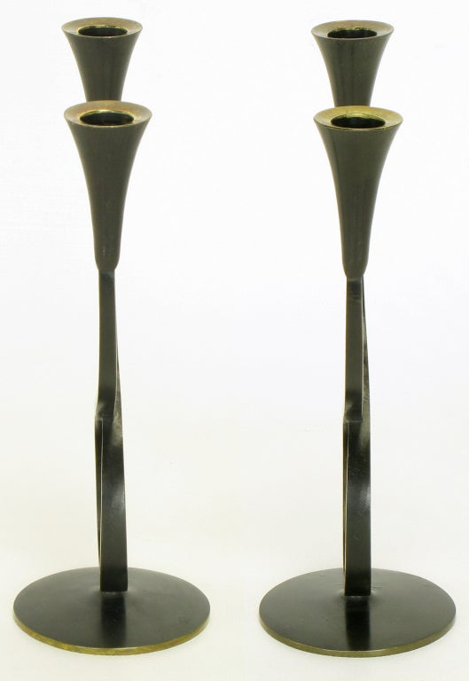 Mid-20th Century Rena Rosenthal Brass Double Arm Candelabra For Sale