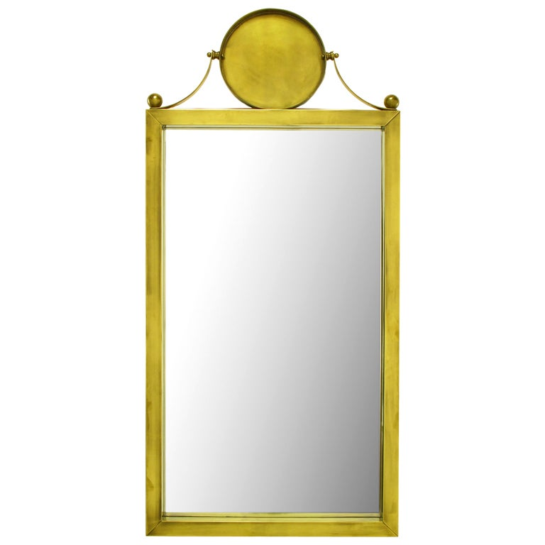 Large Antiqued Brass Wall Mirror with Circular Brass Pediment For Sale