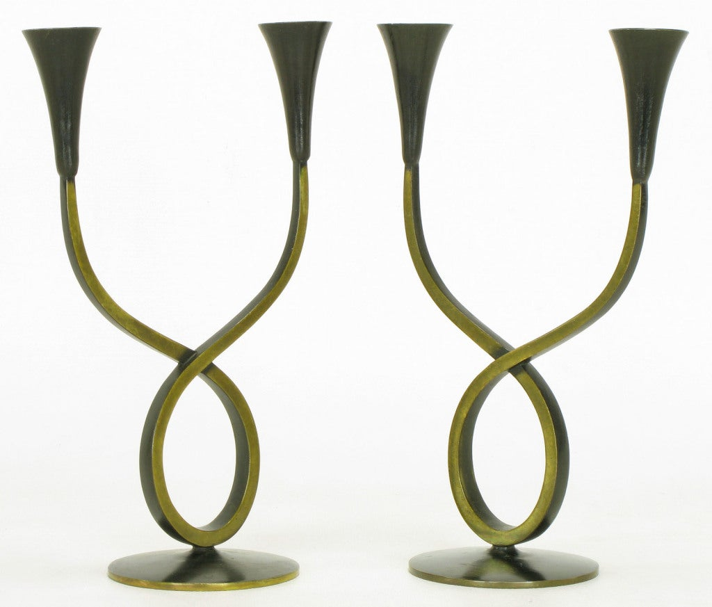 Austrian Rena Rosenthal Brass Double Arm Candelabra For Sale