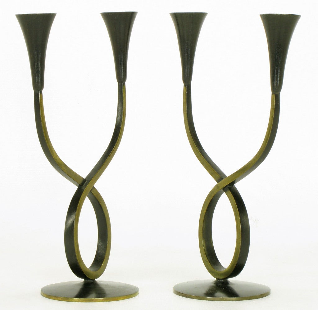 Rena Rosenthal Brass Double Arm Candelabra In Excellent Condition For Sale In Chicago, IL