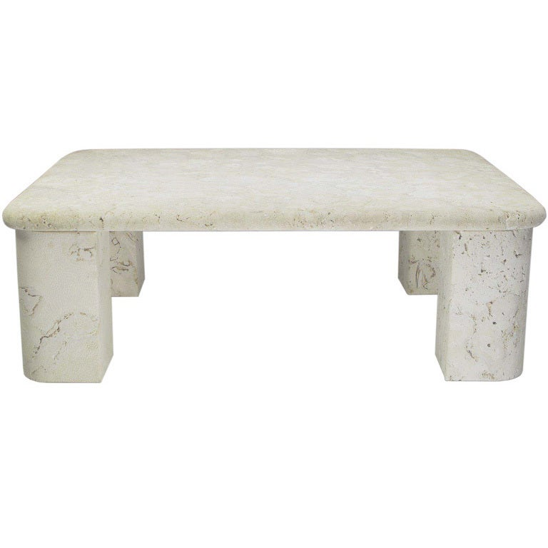 Solid Granite Top Coffee Table: Solid Fossil Stone Coffee Table In The Manner Of Michael