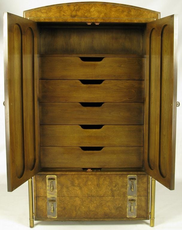 American Mastercraft Burled Wood & Brass Tall Cabinet For Sale