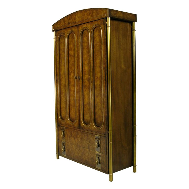 Mastercraft Burled Wood & Brass Tall Cabinet For Sale