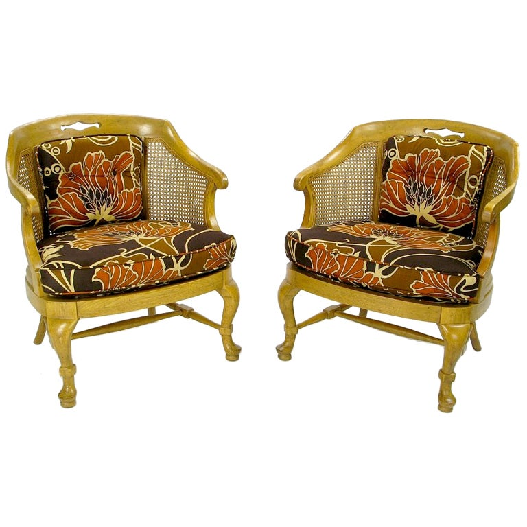 Pair 1940s Cane Back Regency Style Bergeres At 1stdibs