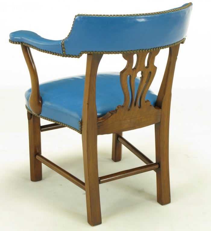 Pair Barnard And Simonds Blue Leather And Mahogany Arm Chairs At 1stdibs