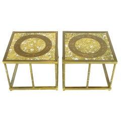 Pair Mastercraft Brass & Reverse Gilt Glass End Tables