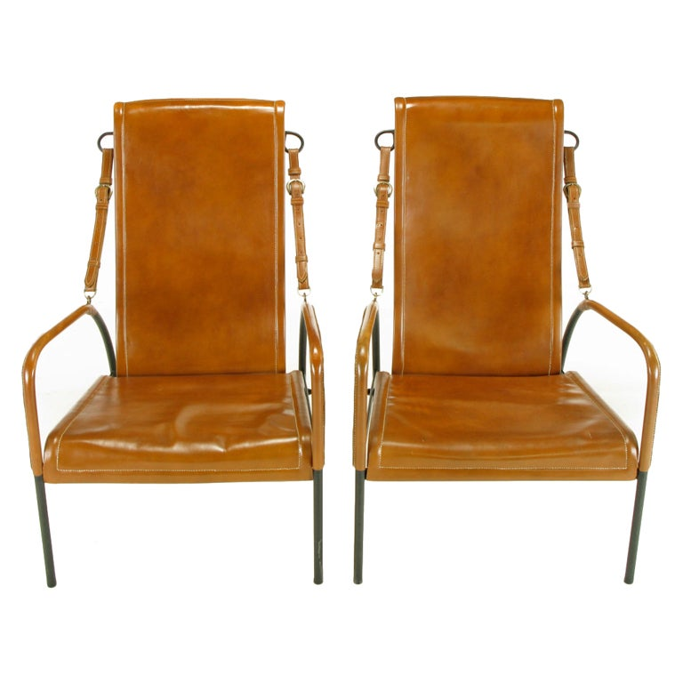 Pair Custom Leather and Wrought Iron High Back Lounge Chairs at 1stdibs
