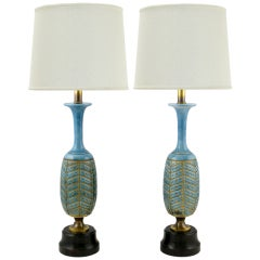 Pair Rembrandt Cerulean Blue Pottery & Brass Table Lamps