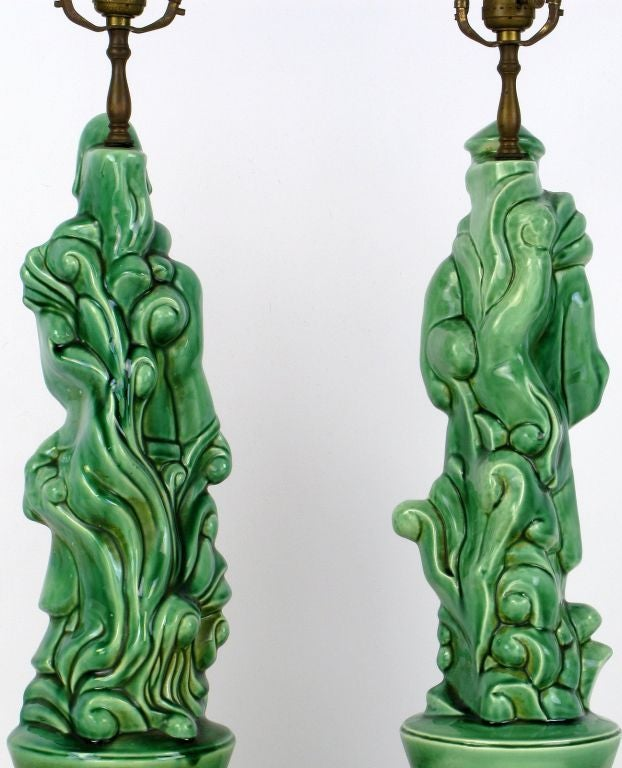 Pair Jade Green Porcelain Asian Figure Table Lamps At 1stdibs