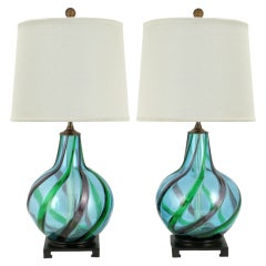 Pair Aqua Murano Lamps With Emerald And Amethyst Appliques