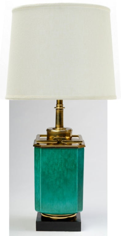 Large 1940s Stiffel Green Ceramic & Brass Lamp By Edwin Cole 2