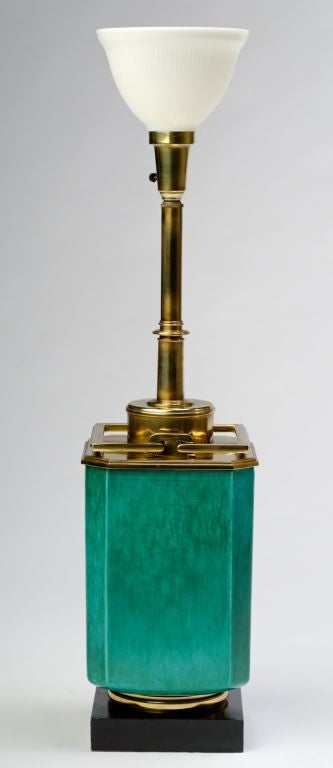Large 1940s Stiffel Green Ceramic & Brass Lamp By Edwin Cole 3