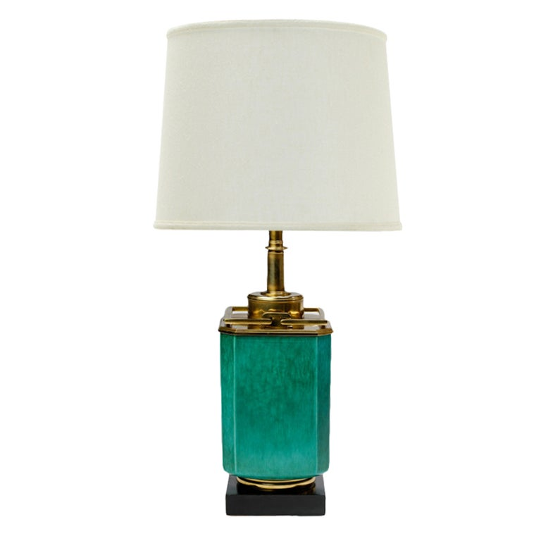 Large 1940s Stiffel Green Ceramic & Brass Lamp By Edwin Cole