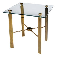 Postmodern Brass and Glass End Table
