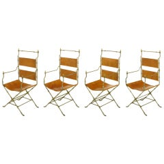 Four Custom Leather & Hand Forged Iron X-Base Sling Chairs