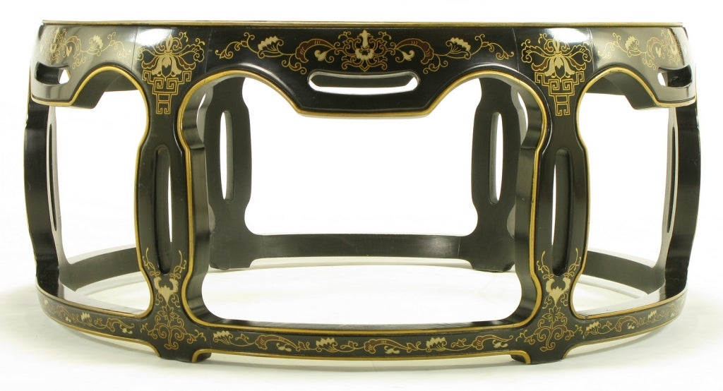 Glass Asian Open Drum Coffee Table - Lacquered & Parcel Gilt For Sale
