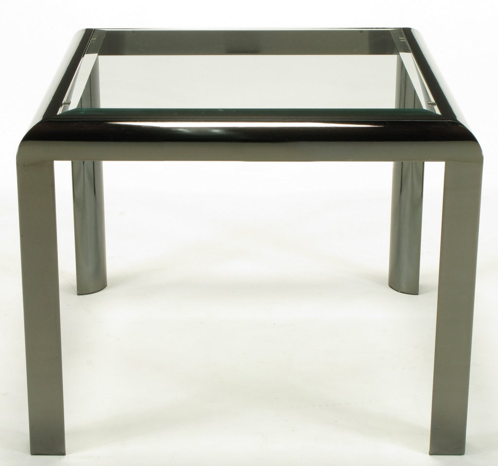American DIA End Table in Radiused Gunmetal with Beveled Glass For Sale